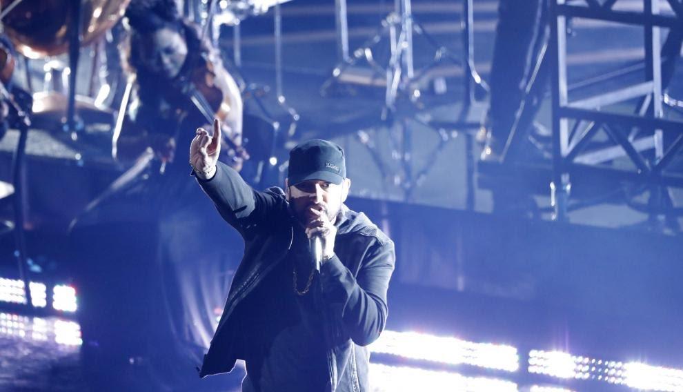 Eminem, en su actuación.